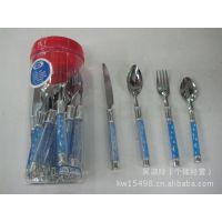 厂家直销 不锈钢KW-E04星月柄刀叉勺24PCS桶装餐具套装 汤勺