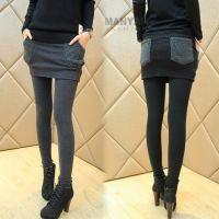 3021#秋冬新款打底裤 显瘦加厚 包臀假两件裙裤 修身长裤女