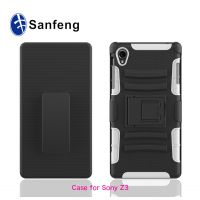 现货拿样 索尼z3欧美风格手机壳 二合一硅胶手机保护套