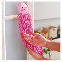 义乌批发 雪尼尔擦手巾 卡通动物头挂式珊瑚虫多用手擦手巾毛巾