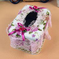 1382 短款花边方形纸巾盒批发  时尚创意家居餐巾纸盒 10元店