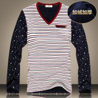 新款条纹拼接长袖加厚V领套头t恤 韩版修身百搭男士打底衫KT6910