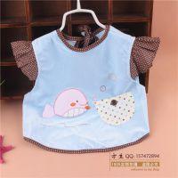 萌宝儿1379 自由海豚宝宝防水食饭衣 婴儿水晶绒飞袖反穿衣 围嘴