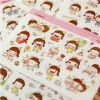 供应韩国创意文具 可爱MOMOI小妞PVC透明贴纸 日记贴装饰贴 2张价O05
