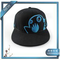 厂家热销蓝色可爱小企鹅透气平板棒球帽  平檐嘻哈帽子定制