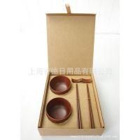 无印良品木碗+檀木筷+筷架 高档节日礼品 达出口德国检测标准