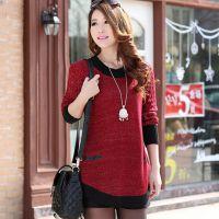 2014秋冬新款韩版女装宽松大码针织衫中长款套头打底衫长袖毛衣