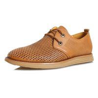 夏季新款洞洞男士休闲鞋 时尚透气内增高镂空真皮韩版凉皮鞋