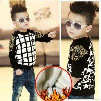 卡哇伊童装批发 冬季韩版男童打底衫 双层加厚不倒绒 儿童套头衫