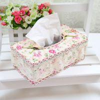 C38  热销韩版方形布艺纸巾盒 蕾丝汽车纸巾盒 餐巾纸盒 广告