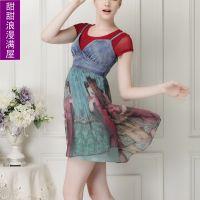 2014夏装新款女AB60216欧美大牌时尚网纱打底衫+丝质吊带裙两件套