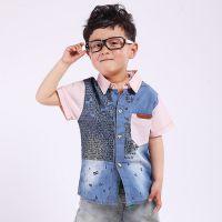 童衬衫 2015夏新款童装 韩版女童牛仔短袖 字母牛仔短袖衬衫Z0.4