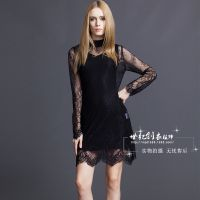 秋冬新款品牌女装 大码纯色修身蕾丝连衣裙 高端蓝雅全蕾丝连衣裙