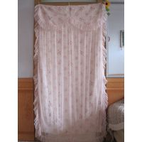半帘隔断高档纱帘成品简约纯色透明粉色田园特价蕾丝门帘