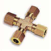 Legris 十字型等径黄铜卡套接头