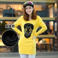 2014秋冬新款韩版女装加绒加厚骷髅头绣花包臀打底衫 长款T恤 女