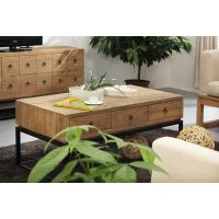 美式铁艺实木茶几带抽屉 现代简约实木小茶几 创意家具矮桌咖啡桌
