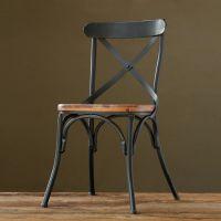 2014美式复古铁艺餐椅 餐厅椅子仿古实木家具背叉椅创意铁餐椅