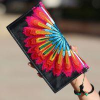 民族风包包 特色彩虹花刺绣绸缎面料手包手拿包 小号长款钱包