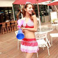 日韩风泳装批发 分体裙式比基尼泳衣 可爱甜美蛋糕裙游泳衣 代发