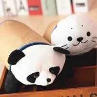 批发毛绒玩具爱熊猫小海狮竹席荞麦迷你午休枕 夏用午休枕