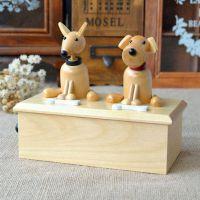 亏本 小狗音乐盒 木质八音盒生日礼物创意礼品天空之城厂家批发