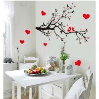 墙贴批发可移墙贴 PVC透明膜AY7179 爱情树 枝头鸟