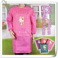 卡通小兔反穿衣工作围裙 可印字 大人反穿防脏长袖 特价厨房围裙