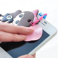 韩版可爱手机挂件 三星苹果4s吊坠防尘塞 带屏幕擦卡通
