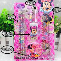 韩国精品文具批发 正品迪士尼6983超值文具五件套装 自动笔铅笔