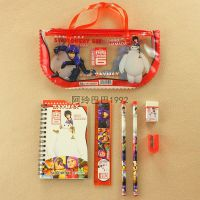 超能陆战队baymax六大英雄卡通透明笔袋手提袋文具6件套学习用品