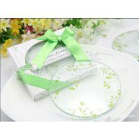 厂家供应创意婚庆用品婚礼回礼小礼品 三叶草玻璃杯垫餐垫持混批