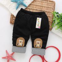 新款童装 爆款休闲裤裤 珊瑚绒贴布熊加厚夹棉童裤批发 童裤
