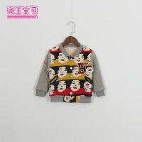 青岛外贸童装 14秋冬款韩版加绒加厚儿童外套 时尚印花儿童棒球服