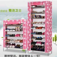 批发新款牛津布鞋柜简易防尘无纺布鞋柜4、5层,6层鞋柜架子特价