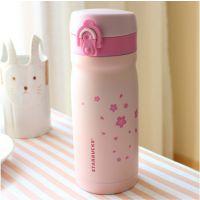 淘宝爆款 创意樱花保温杯 日式梨花弹跳 女生女士款 便携水杯子