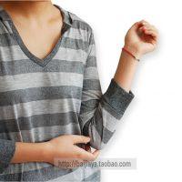 供应香港潮牌女装韩版个性连帽撞色条纹全棉V领七分袖T恤打底衫 T159