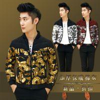 2014冬装新款韩版男士修身立领棉衣 土豪金棉服 外贸 速卖通男装