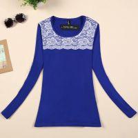 秋冬新款女装 韩版显瘦蕾丝拼接牛奶丝加绒长袖保暖打底衫 T恤女
