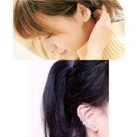 E347镶钻花朵花串耳钉/无耳洞耳夹耳骨耳鼓夹假耳环单只韩国版潮