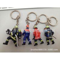 供应消防员公仔钥匙扣 pvc公仔挂件 动漫公仔卡通人面公仔