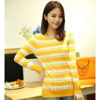 2014秋装新款韩版中长款针织衫女 条纹套头打底衫