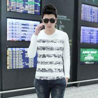 年中大促 2014秋装新款男士韩版修身纯棉圆领长袖打底衫男条纹T恤
