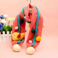 2014秋冬儿童围巾批发 安吉宝贝 糖果色立体机器人毛线围巾 围脖
