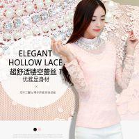 蕾丝衫女2014韩版秋冬装钉珠蕾丝打底衫大码修身立领雪纺衫上衣