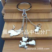 厂家直销金属创意购物车小熊心形钥匙扣款现货高档钥匙链挂件