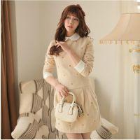 2014秋冬季新款长袖毛呢子修身韩版女装娃娃领打底连衣裙
