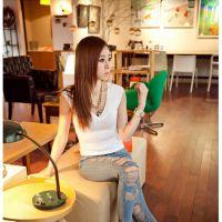 2015新款 韩国上衣性感 修身打底衫女大码无袖纯色V领t恤