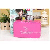 新款复古可爱化妆包 韩国化妆箱 大容量首饰箱包收纳女包 玫红