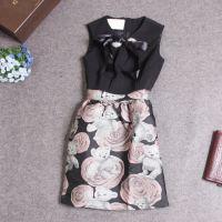 ML8058欧洲人气款女装秋冬新款镶钻丝带系带领立体小熊连衣裙